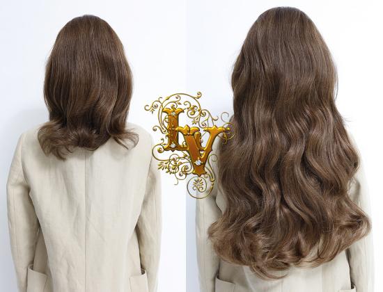 шикарное наращивание волнистых волос